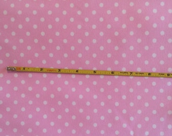 "NEW White dots on pink cotton lycra knit fabric 96/4 58"" wide."