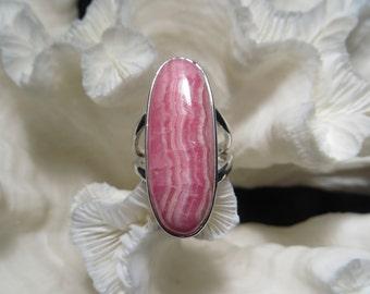 Beautiful Pink Rhodochrosite Ring Size 6