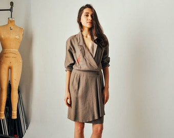 Vintage Christian Aujard Linen Trench Dress