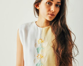 Vintage Yellow & White Embroidered Dress