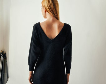 Vintage Black Angora Sweater Dress