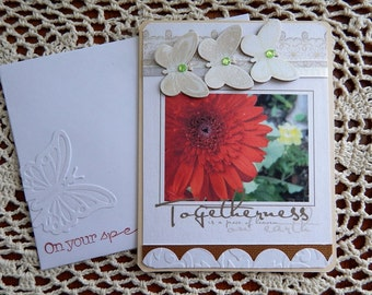 Handmade Wedding Card: complete card, handmade, balsampondsdesign, wedding, gerber daisy, butterflies, red, tones of brown, flower photo