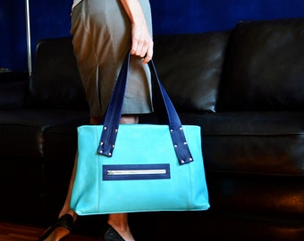 Leather Laptop Tote, Everyday Bag Leather, Womens Work Bag, Large Leather Tote Bag, Leather Handbag - The Grayson Bag in Light Turquoise