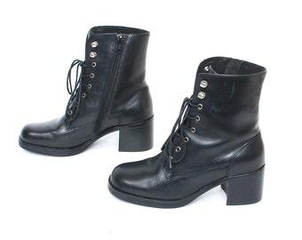 size 5.5 PLATFORM black leather 80s 90s GRUNGE COMBAT lace up high heel boots