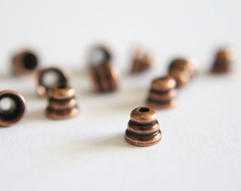 Copper beehive bead caps spacers 4mm (12)