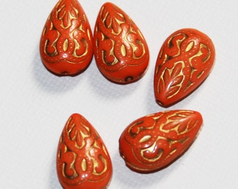 50 pcs of vintage Acrylic teardrop beads 18x11mm Orange with gold accent