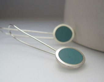 Modern Minimal Earrings - Aqua Blue Drop Earrings - Gift for Girlfriend  - Mum Sister Gifts - Round Silver Earrings