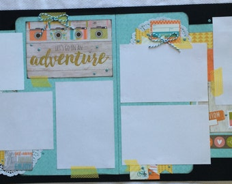 Let's go on an adventure scrapbook layout, travel scrapbook page, getaway scrapbook pages, destination layout