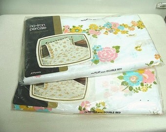 Vintage Fashion Manor Floral Sheet Set NIP Unopened Double Bed Flat, Fitted