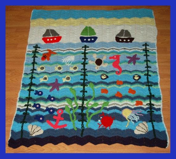 Crochet Blanket Crochet Sea Blanket Crochet Ocean Blanket