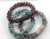 Kumihimo Bracelet with Long Magatamas & C-Lon Tex 400 Bead Cord DIY Tutorial + Braiding Instructions + Links to Peyote Sleeve over Clasp