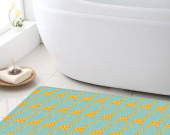 Bath Mat, giraffes Bathroom mat, Shower Mat, customized bath mat, bathroom decor, kids bathroom, bathroom rug, Kids mat