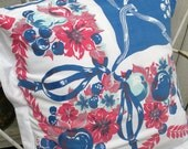 Pillow sham Vintage tablecloth Farmhouse Summer Porch red white blue RDT ECS