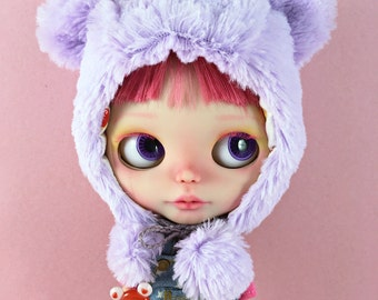 Furry Teddy Bear Helmet for Neo Blythe