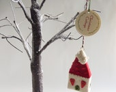 Christmas Cottage needle felt tree ornament by Gretel Parker