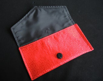 Scarlet Envelope Clutch -ready to ship purse in red brocade with black lining- asian look Greek key satin