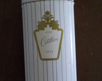 Vintage Avon Talc Tin, Cotillion Talcum Powder Tin