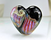 Black Pink Lampwork Heart Focal Bead SRA BEADS