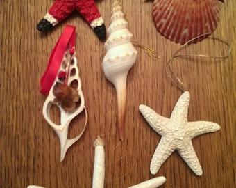 Set of 6 Treasures from the Sea Ornaments  Starfish Santa, Seashell Angel and Sparkly Seashell & Starfish