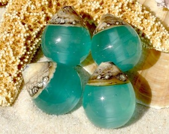 Lampwork Beads Water Droplet (4) Translucent Aquamarine