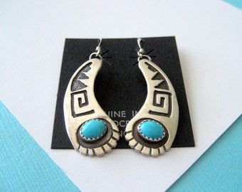 Navajo Turquoise and Sterling Silver Overlay Earrings by Jerry Cowboy