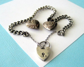 Vintage English Sterling Silver Puffy Heart Charm Bracelet with Heart Padlock Clasp
