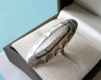Huge Navajo Mother of Pearl and Sterling Silver Stamped Ring