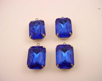 4 vintage Glass  Rhinestone Capri Blue Octagon antique  brass ox prong settings closed back 1 ring 18x13