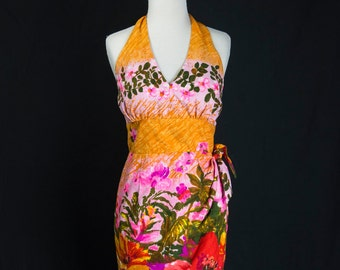 Vintage 60s Hawaiian Sarong Dress Bombshell Halter VLV