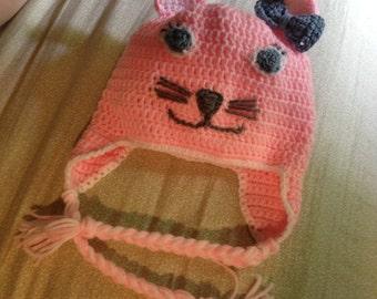 Custom Order --Small Crocheted Kitten Hat (Child Size)
