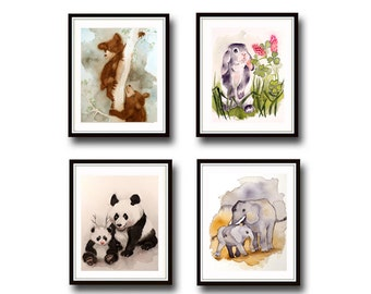 Cat Art Print SALE 20% off set of 4 PRINTS Animal art your choice Watercolor painting Art for nursery Child art 2