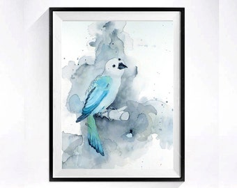 Bird Watercolor painting Print Woodland animal Nature minimalist art child Nursery decor archival wall art blue grey aqua  Birds