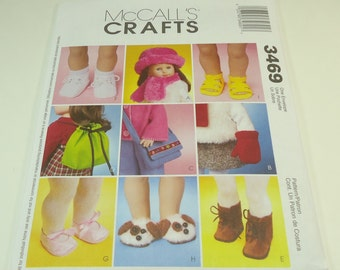 """McCall's 18"""" Doll Clothes And Accessories Pattern 3469 One Size"""