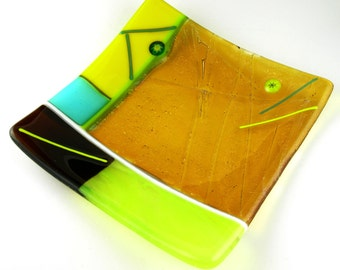 Bright Colorful Square Fused Glass Sushi Plate Dish in Iridescent Amber Lime Green Bright Yellow Turquoise Blue Brown