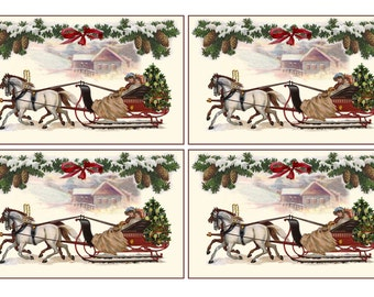 CHRISTMAS DIGITAL Cards  Horses SLEIGH equestrian Printable Vintage Postcard Papercrafts Scrapbooking Card making Invitations