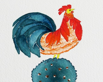 rooster on tree watercolor painting, original watercolor painting, blue turquoise and orange painting