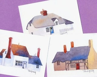 Boxed Note Cards-English Cottages-printed from original watercolor paintings