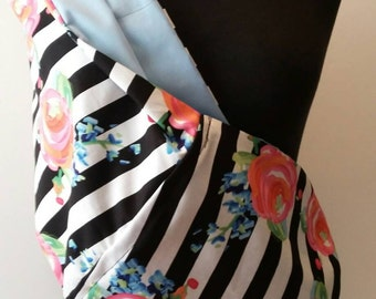 Baby Sling Carrier - Black Stripes Roses- Baby Blue Lining