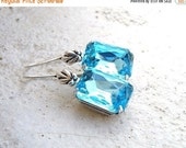 27% Off Sale Aqua Earrings Robin's Egg Blue Rhinestone Silver BE27