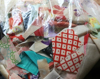 Vintage Kimono Fabric Scraps - Quilting and Small Projects - Bag 5 - Small Cuts Mix