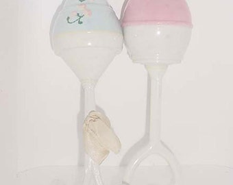 Baby Rattles - Vintage Pair   - One with Painted Decor - Pink and Blue Hard Plastic 1950 s Era
