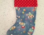 Christmas X'mas Stocking - Raggedy Ann and Andy With Red