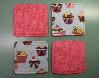Drink Coasters - Set of 4 - Cupcakes on Blue