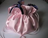 Large Dollar Dance Bag Wedding Bag Brides Purse Navy Ice Pink Satin