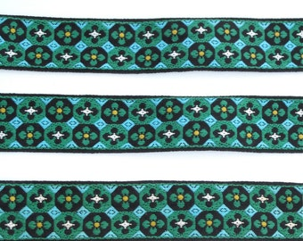 "Green & Teal Geometric Floral Jacquard Ribbon Vintage Sewing Trim,  Tyrolean Trim 1-1/2"" wide - 3 yards - Millinery, Haberdashery"