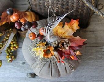 Autumn Pumpkin, Grayish Brown, Fabric Pumpkin, Autumn Gatherings, Thanksgiving Ideas, Halloween, Lodge and Cabin Decor