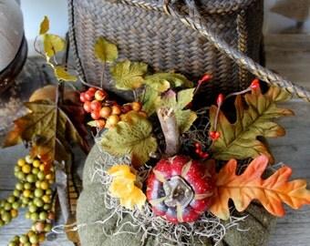 Sage Green Wool Pumpkin, Fabric Pumpkin, Fall Decor, #10,Autumn Gatherings, Thanksgiving Ideas, Centerpiece, Halloween, Wedding, Lodge Decor