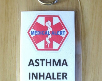 Medical alert tag Asthma Inhaler Inside laminated tag-- with options to select from including personalized