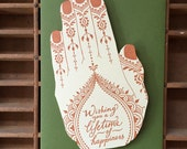 letterpress henna hand shaped card happiness