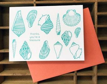 letterpress seashells thank you card